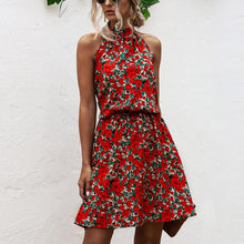 Load image into Gallery viewer, Summer Sexy Halter Lace Up Floral Sleeveless Print Mini Dress