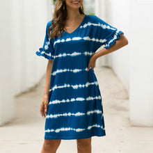 Load image into Gallery viewer, Summer Women Short Sleeve Loose Wavy Stripes Mini Dress