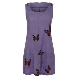 Summer Sleeveless Floral Butterfly Knee Above Casual Loose Mini Dress