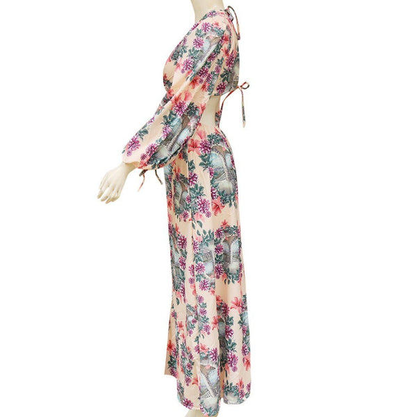 Fashion Women Maxi Dress Boho Style Long Sleeve Sundress Autumn Casual Floral Print Camouflag Skull Print Party Dress vestidos