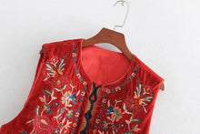 Load image into Gallery viewer, Boho Autumn Orang Floral Embroidery Sleeveless Outerwear Jacket