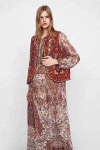 Boho Autumn Orang Floral Embroidery Sleeveless Outerwear Jacket