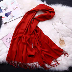 Winter Solid Color Warm Long Imitation Cashmere Shawls Scarf