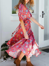Load image into Gallery viewer, Exotic Floral Print V-neck Long Summer Kimono Sleeve Women Dress