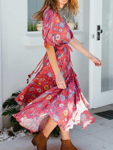 Exotic Floral Print V-neck Long Summer Kimono Sleeve Women Dress