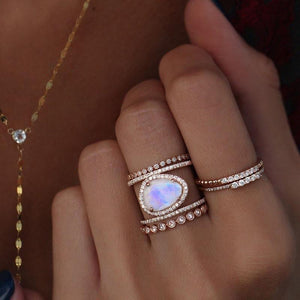 Simple Diamond Beach  Natural Moonstone Hollow Ring