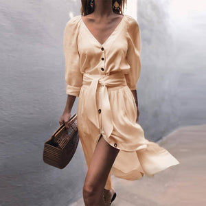 Casual Solid Color V Neck Three-quarter Sleeve Button Lace-Up Midi Dress