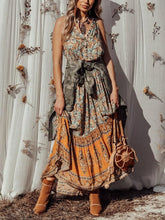 Load image into Gallery viewer, Holiday Big Swing Bohemian Beach Button Sleeveless Maxi dress