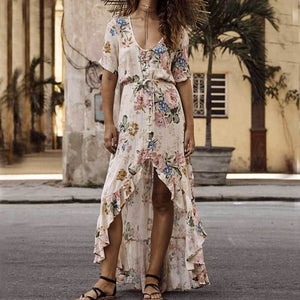 Boho Floral Fuffles V-neck Maxi Buttons Dress