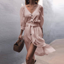 Load image into Gallery viewer, Casual Solid Color V Neck Three-quarter Sleeve Button Lace-Up Midi Dress