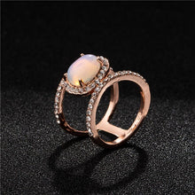 Load image into Gallery viewer, Simple Diamond Beach  Natural Moonstone Hollow Ring