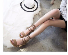 Load image into Gallery viewer, Pumps Open Toe Lace up Heels Sandal Shoes
