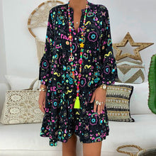 Load image into Gallery viewer, Women's Dresses Plus Size Loose Print Long Sleeve V-Collar Button Mini Dress