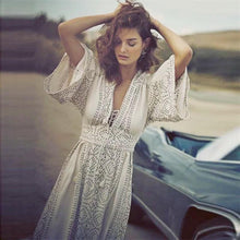 Load image into Gallery viewer, Solid Color Flare Sleeve Long Dresses Vintage Elegant Casual Dress