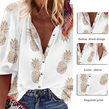 Load image into Gallery viewer, Women Blouse Sexy V-Neck Tops Pineapple Printed Shirts