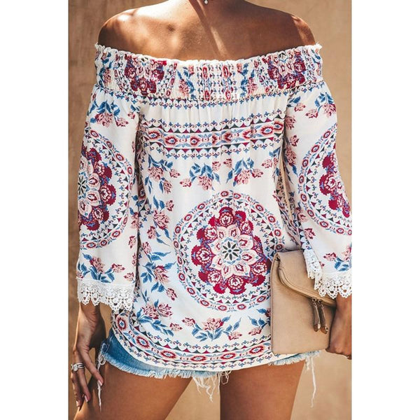 Autumn and Winter Women Retro Printed Lace Stitching Off Shoulder Elegant Loose Flare Sleeve Blouse