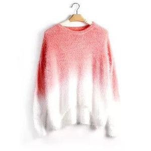 Casaul Gradient O-Neck Long Sleeve Women Sweaters