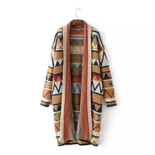 Load image into Gallery viewer, Casual Geometric Print Patchwork Lapel Long Sleeve Women Cardigans