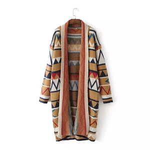 Casual Geometric Print Patchwork Lapel Long Sleeve Women Cardigans