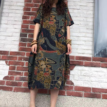 Load image into Gallery viewer, Gracila Vintage Patchwork round neck Mid-Long Dresses
