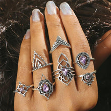 Load image into Gallery viewer, 7 Pcs/Set color crystal Indian Ethnic Wind Hollow Flower Modeling Vintage Exaggerated Combination Ring for Xmas Party