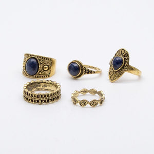 5 pcs BOHO ring set 2 colors statement style bohemia party