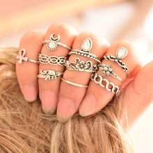 Load image into Gallery viewer, 10 pcs BOHO ring set statement style bohemia party
