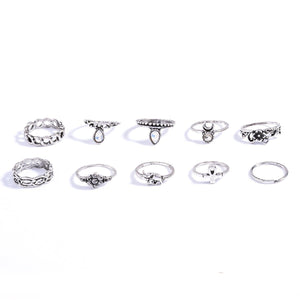 10 pcs BOHO ring set statement style bohemia party