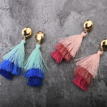 Load image into Gallery viewer, Three-color gradient tassel earrings handcrafted wrap jewelry for party