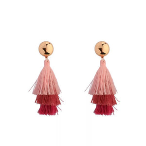Three-color gradient tassel earrings handcrafted wrap jewelry for party