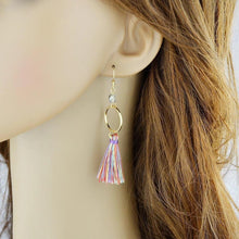 Load image into Gallery viewer, Tassel ethnic jewelry boho earrings rainbow colorful round circle shape party earring