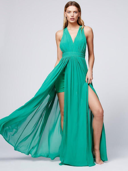 Bohemia style solid color backless evening dress