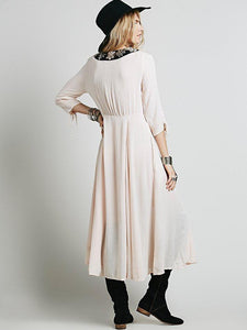 Bohemia Inwrought Half Sleeve V Neck Big Hem Beach Long Dress