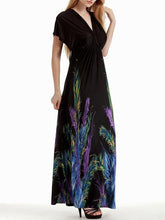 Load image into Gallery viewer, Plus Bohemia Printed V-neck&V-back Maxi Dress