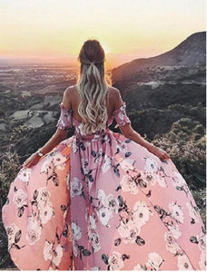 Sexy Off Shoulder High Split Floral Boho Causal Dress