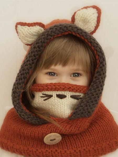 Children Hat Autumn And Winter Cloak Mask Fox Wool Hat Shawl Warm Ear Protectors