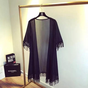 New Arrival lace tassels elegant sunscreen chiffon shirt cardigan sunscreen shirt