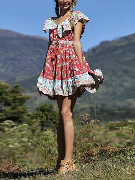 Off-the-shoulder Bohemia Mini Chiffon Floral Print Dress Beach Style Vacation Dress
