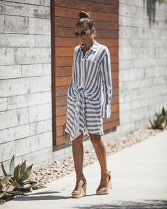 Striped Long Sleeve Knotted T-shirt Mini Dress