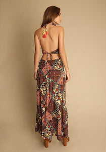 Holiday style floral beach skirt hanging neck long dress print halter skirt