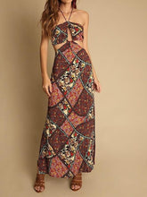 Load image into Gallery viewer, Holiday style floral beach skirt hanging neck long dress print halter skirt