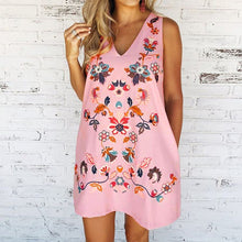 Load image into Gallery viewer, Floral Print  Women Fashion V-neck Sleeveless Casual Loose Summer  Loose A-line Party Dress
