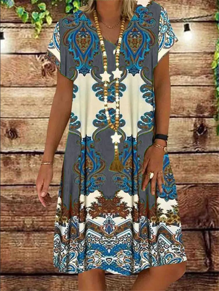 Summer Women V-neck Print Vintage Short Sleeve Party Dress