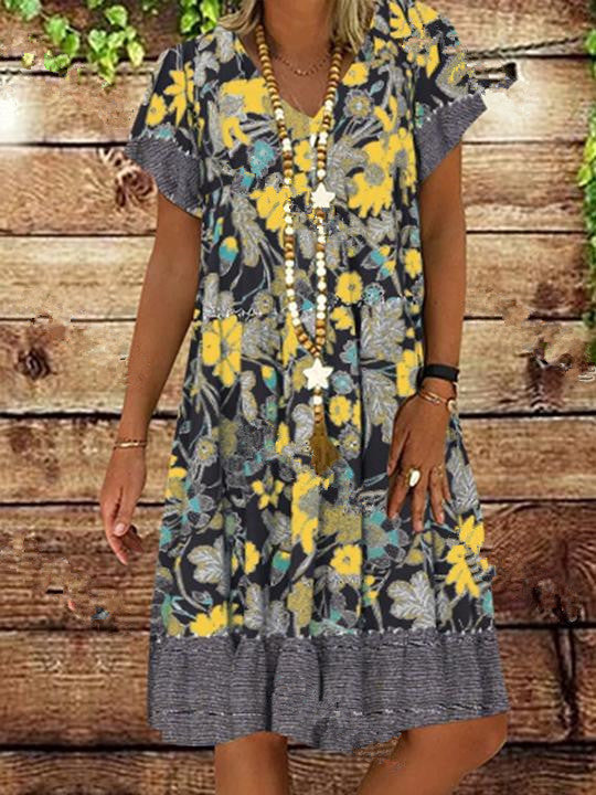 2020 Summer Women Dress V-neck Printed Short-Sleeved Mid-length Floral Dress