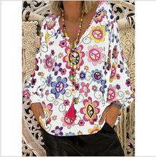 Load image into Gallery viewer, Women's Shirts Print Loose Long Sleeve V-neck Tops
