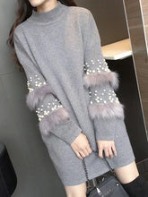 Load image into Gallery viewer, Pompom Fur Pearl Knit long Loose Autumn Pullover Sweater