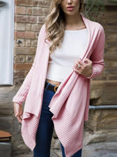 Load image into Gallery viewer, Casual Pink Solid Color Knit Cardigan Sweater