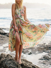 Load image into Gallery viewer, Floral Round Neck Backless Backless Maxi Dresses