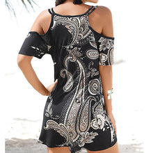 Load image into Gallery viewer, New Fashion Womens Short Sleeve Print Strapless Shoulder Mini Dress