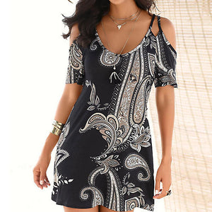 New Fashion Womens Short Sleeve Print Strapless Shoulder Mini Dress